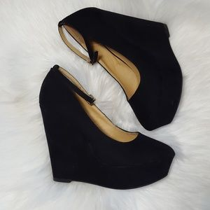 "Just Fab Black Wedge MaryJane 5"" Heels Size 7"
